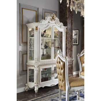 ACME Picardy Curio Cabinet, Antique Pearl