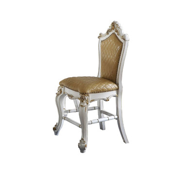 ACME Picardy Counter Height Chair (Set-2), Antique Pearl & Butterscotch PU