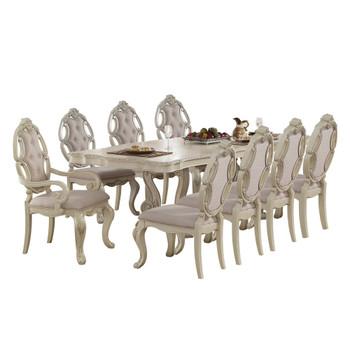 ACME Ragenardus Dining Table w/Double Pedestal, Antique White (1Set/2Ctn)