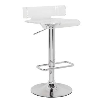 "ACME Rania Adjustable Stool w/Swivel, Clear & Chrome, 22""~31"" Seat Height"