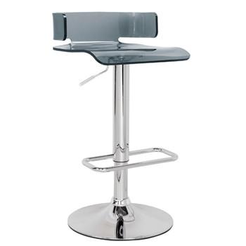 "ACME Rania Adjustable Stool w/Swivel, Gray & Chrome, 22""~31"" Seat Height"