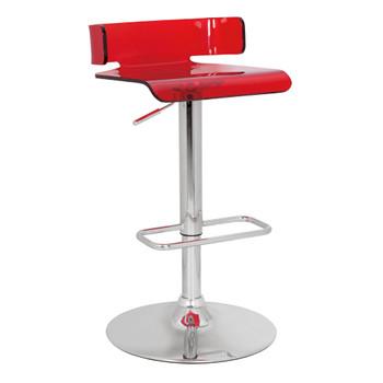 "ACME Rania Adjustable Stool w/Swivel, Red & Chrome, 22""~31"" Seat Height"