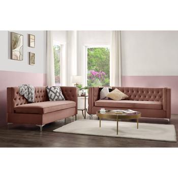 ACME 55505 Rhett Sectional Sofa, Dusty Pink Velvet