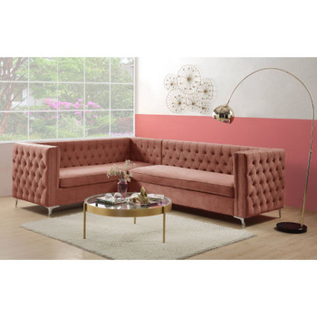 ACME Rhett Sectional Sofa, Dusty Pink Velvet