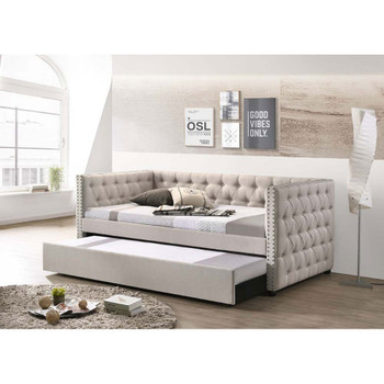 ACME 39445 Romona Full Daybed & Twin Trundle, Beige Fabric