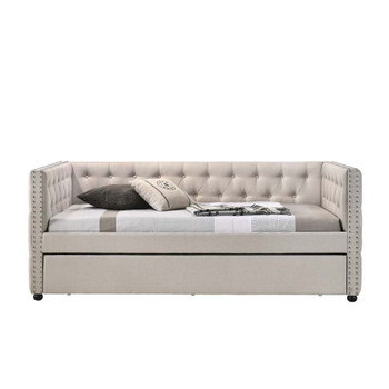 ACME Romona Full Daybed & Twin Trundle , Beige Fabric