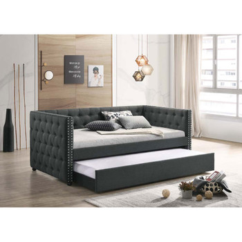ACME 39455 Romona Full Daybed & Twin Trundle, Gray Fabric