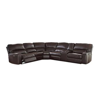 ACME Saul Sectional Sofa (Power Motion/USB Dock), Espresso Leather-Aire (1Set/6Ctn)