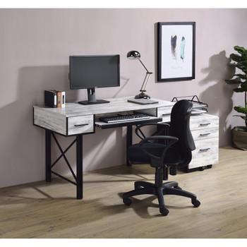 ACME 92797 Settea Computer Desk, Antique White & Black Finish