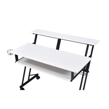 ACME 92902 Suitor Music Recording Studio Desk, White & Black