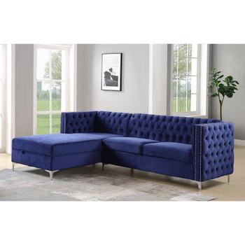 ACME 55490 Sullivan Sectional Sofa, Navy Blue Velvet