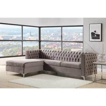 ACME 55495 Sullivan Sectional Sofa, Gray Velvet