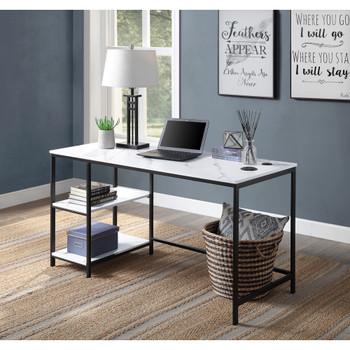 ACME 93077 Taurus Built-in USB Port Writing Desk, White Printed Faux Marble & Black Finish