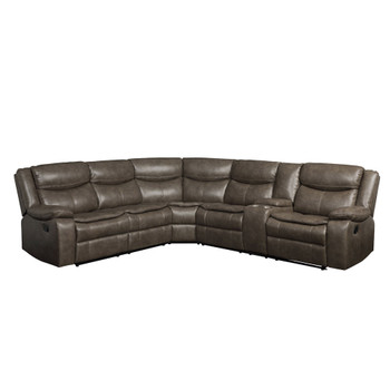 ACME Tavin Sectional Sofa (Motion), Taupe Leather-Aire Match