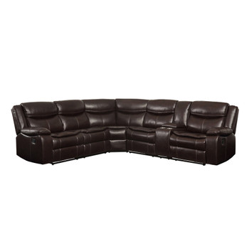 ACME Tavin Sectional Sofa (Motion), Espresso Leather-Aire Match