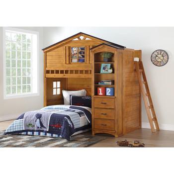 ACME 10163 Tree House Bookcase Cabinet, Rustic Oak