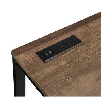ACME 93096 Tyrese Built-in USB Port Writing Desk, Walnut & Black Finish