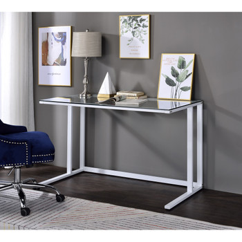 ACME 93098 Tyrese Writing Desk, Clear Glass & White Finish