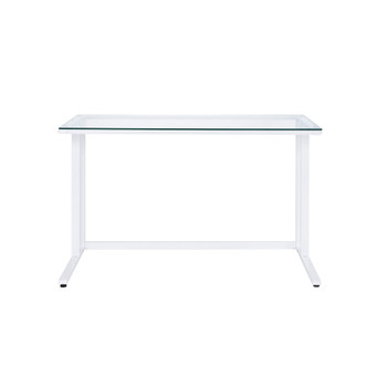 ACME Tyrese Writing Desk, Clear Glass & White Finish