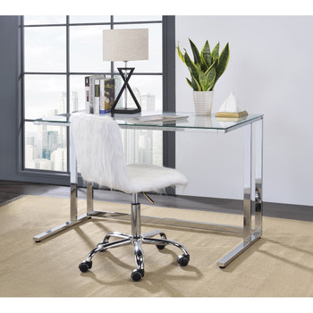 ACME 93100 Tyrese Writing Desk, Clear Glass & Chrome Finish