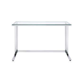 ACME Tyrese Writing Desk, Clear Glass & Chrome Finish