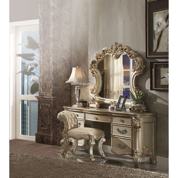 ACME Vendome Vanity Desk, Gold Patina & Bone