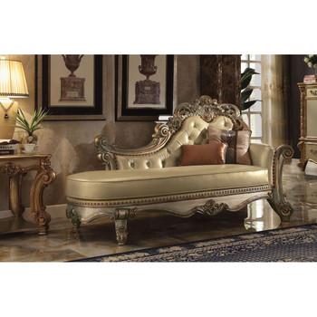 ACME Vendome Chaise w/2 Pillows, Bone PU & Gold Patina
