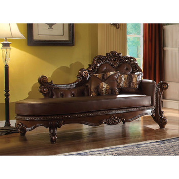 ACME 96491 Vendome Chaise with 2 Pillows, PU & Cherry