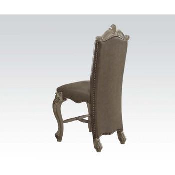 ACME Versailles Counter Height Chair (Set-2), Vintage Gray PU & Bone White