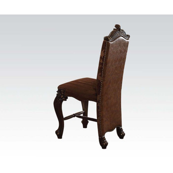 ACME Versailles Counter Height Chair (Set-2), 2-Tone Brown PU & Fabric