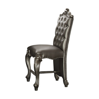 "ACME Versailles Counter Height Chair (Set-2), Silver PU & Antique Platinum, 24"" Seat Height"