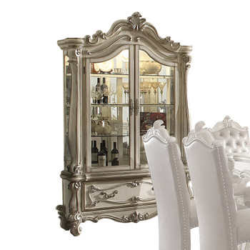 ACME Versailles Curio Cabinet, Bone White (1Set/2Ctn)