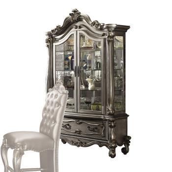 ACME Versailles Curio Cabinet, Antique Platinum (1Set/2Ctn)