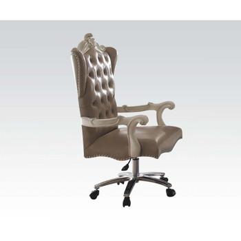 ACME Versailles Executive Chair w/Swivel & Lift, Vintage Gray PU & Bone White