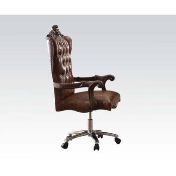 ACME Versailles Executive Chair w/Swivel & Lift, 2-Tone Light Brown PU & Cherry Oak