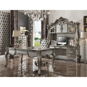 ACME 92822 Versailles Executive Chair with Swivel & Lift, Silver PU & Antique Platinum