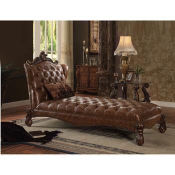 ACME Versailles Chaise w/1 Pillow, 2-Tone Light Brown PU & Cherry Oak