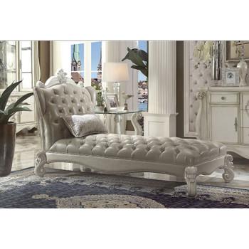 ACME Versailles Chaise w/1 Pillow, Vintage Gray PU & Bone White