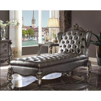 ACME Versailles Chaise Lounge, Silver PU & Antique Platinum