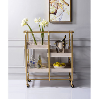 ACME 98412 Vorrik Serving Cart, Gold & White-Washed