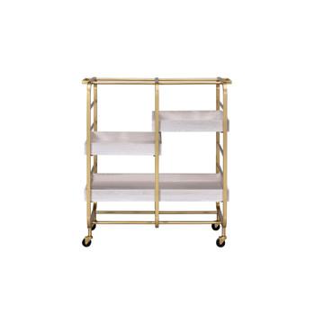 ACME Vorrik Serving Cart, Gold & White-Washed