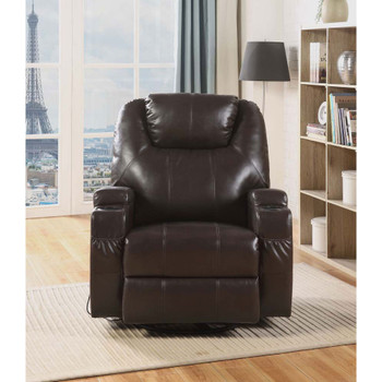 ACME 59278 Waterlily Rocker Recliner with Swivel (Motion), Brown PU