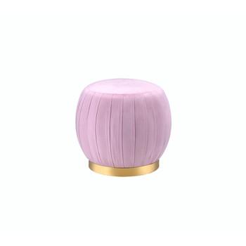 ACME Zinnia Ottoman, Pink Carnation Velvet & Gold