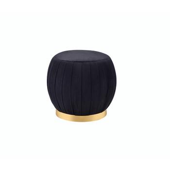 ACME Zinnia Ottoman, Black Velvet & Gold