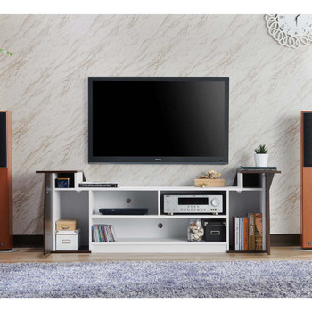 Furniture of America FGI-1789C24 Ezra Contemporary 70-Inch TV Stand in Wenge and White