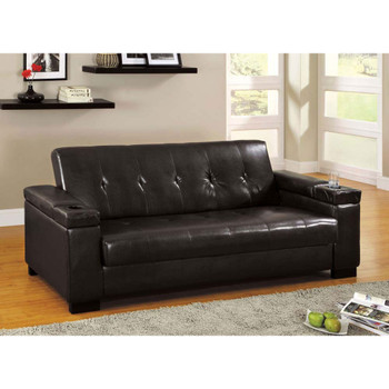 Furniture of America IDF-2123 Addy Contemporary Faux Leather Futon with Cup Holders