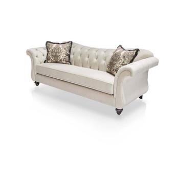 Furniture of America IDF-2221-SF Dora Traditional Tufted Sofa in Ivory
