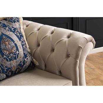 Furniture of America IDF-2224-LV Dora Traditional Button Tufted Loveseat in Light Mocha