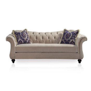 Furniture of America IDF-2224-SF Dora Traditional Tufted Sofa in Light Mocha