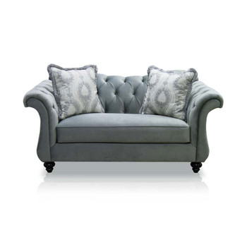 Furniture of America IDF-2225-LV Dora Traditional Button Tufted Loveseat in Dolphin Gray